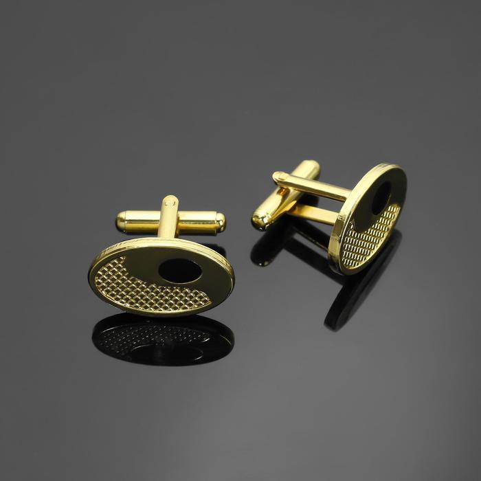 """Запонки стальные """"Классика"""" овал, цвет чёрный в золоте"""