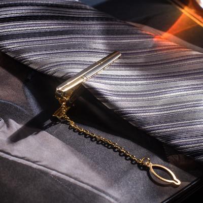 """Зажим для галстука стальной """"Классический"""" цвет матовый золотой"""