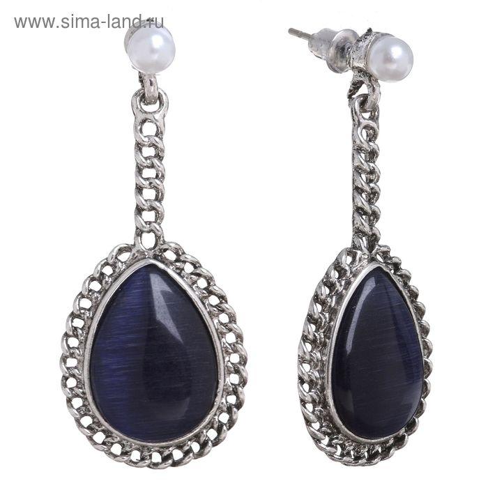 """Серьги """"Капля"""" переплетение, цвет сине-белый в чернёном серебре"""