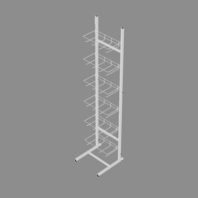Стойка торговая разборная с крючками 15 см, крепление для топпера, цвет белый