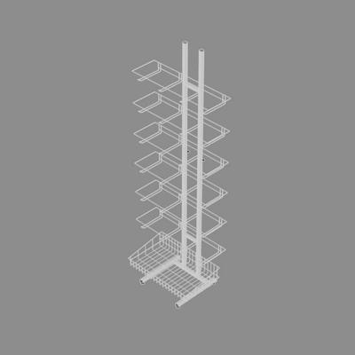 Стойка торговая разборная с крючками 15 см, корзиной 66*33 см, цвет белый