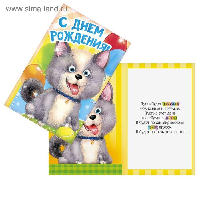 Открытка «С днём рождения», Пушистый пёсик, 12 х 18 см
