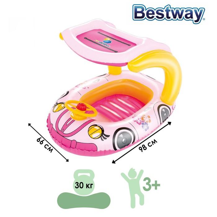 Лодочка для плавания «Машинка» с тентом, 98 х 66 см, от 3-6 лет, от 3-6 лет, цвета МИКС, 34103 Bestway