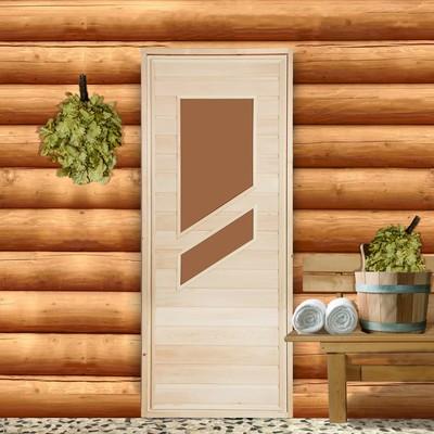 """Дверь для бани со стеклом """"Косое стекло"""", 170×70см"""