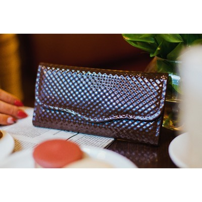 Wallet women on the valve, 2 section for coins, color brown