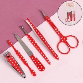 Manicure set, 6-piece, white/red