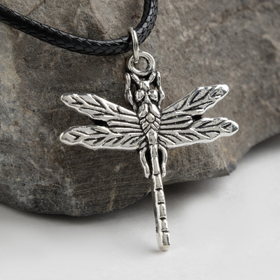 "Pendant on a cord ""Dragonfly"", color black silver, 45cm"