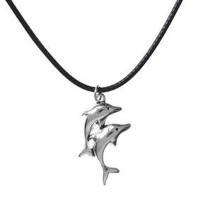 """Кулон на шнурке """"Дельфины"""" пара, цвет чернёное серебро, 45 см в Донецке"""