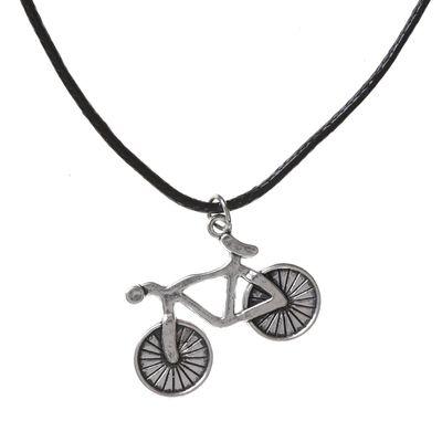 "Кулон на шнурке ""Велосипед"", цвет чернёное серебро, 45 см"