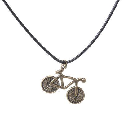 """Кулон на шнурке """"Велосипед"""", цвет чернёное золото, 45 см"""