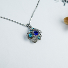 """Кулон """"Цветы"""" лютики, цвет бело-голубой в серебре, 45 см"""