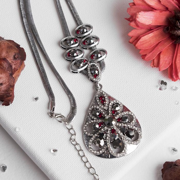 """Кулон на декоративной основе """"Капля"""", цвет красно-серый в чернёном серебре, 50 см"""