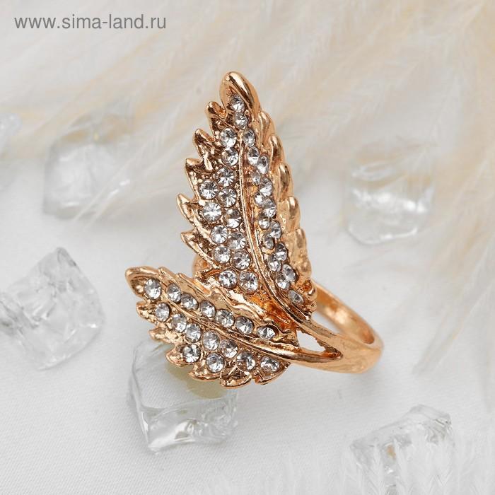 """Кольцо """"Листочки"""", размер 18, цвет белый в золоте"""