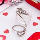 """Кольцо """"Сердце"""" дуэт, размер 16, цвет белый в серебре"""