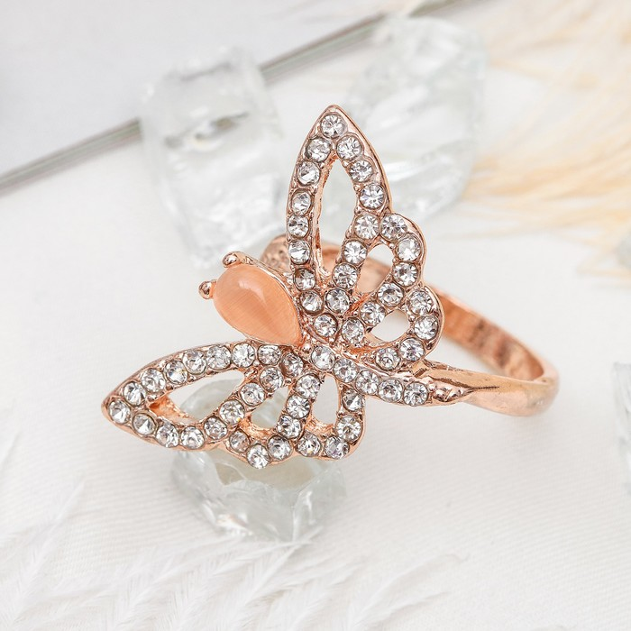 """Кольцо """"Бабочка"""", размер 16, цвет бело-бежевый в золоте"""