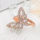 """Кольцо """"Бабочка"""", размер 17, цвет бело-бежевый в золоте"""