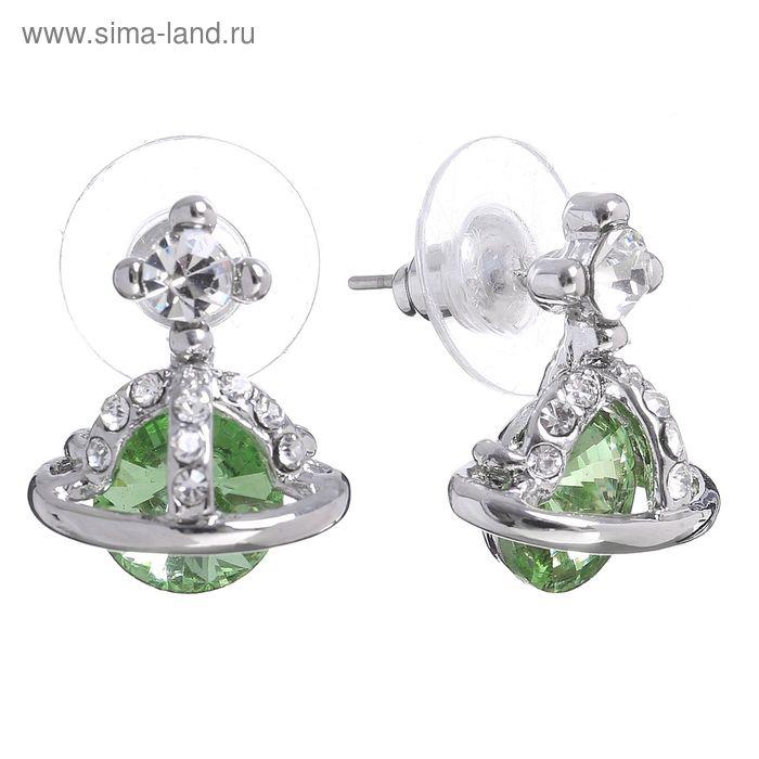 """Серьги со стразами """"Корона"""" малая, цвет светло-зелёный в серебре"""
