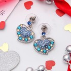 """Серьги со стразами """"Сердце"""" изгиб, цвет радужно-голубой в серебре"""