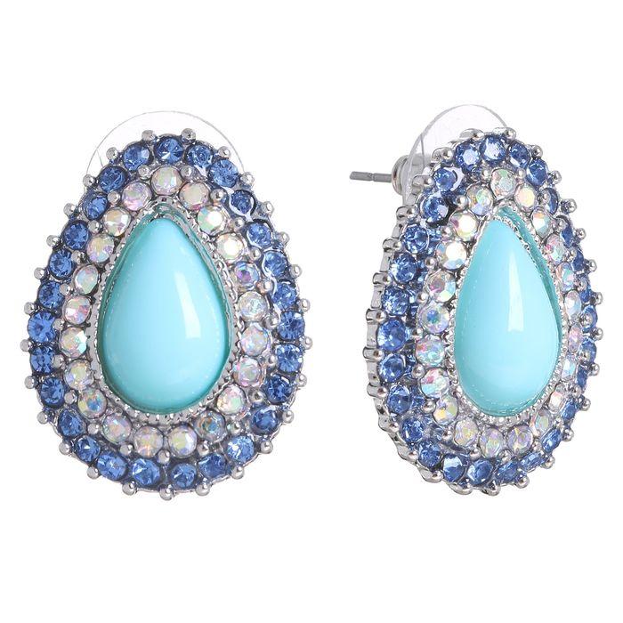 """Серьги ассорти """"Капля"""" нежность, цвет радужно-голубой в серебре"""