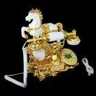 Телефон ретро полистоун, Конь, белый с золотом 27*30см