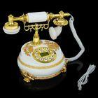Телефон ретро полистоун, Круг с узором из лепнины Бабочка золото, белый 18*25см