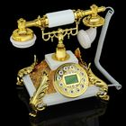 Телефон ретро полистоун, Пирамида на ножках-листьях золото, белый 23*23см