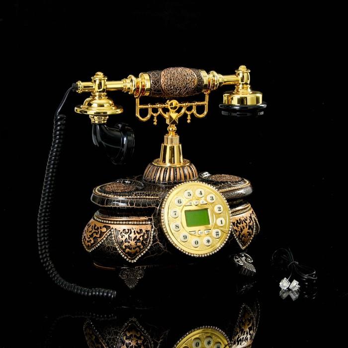 Телефон ретро полистоун, Овал на ножках кракелюр бронза, черный 27*28см