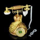 Телефон ретро полистоун, Круг с Павлином золото, коричневый 21*27см