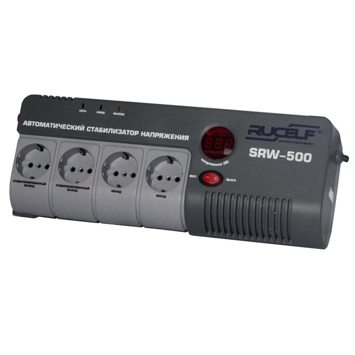 Стабилизатор напряжения RUCELF SRW-500-D, релейный, точность +/- 6%, 500 ВА