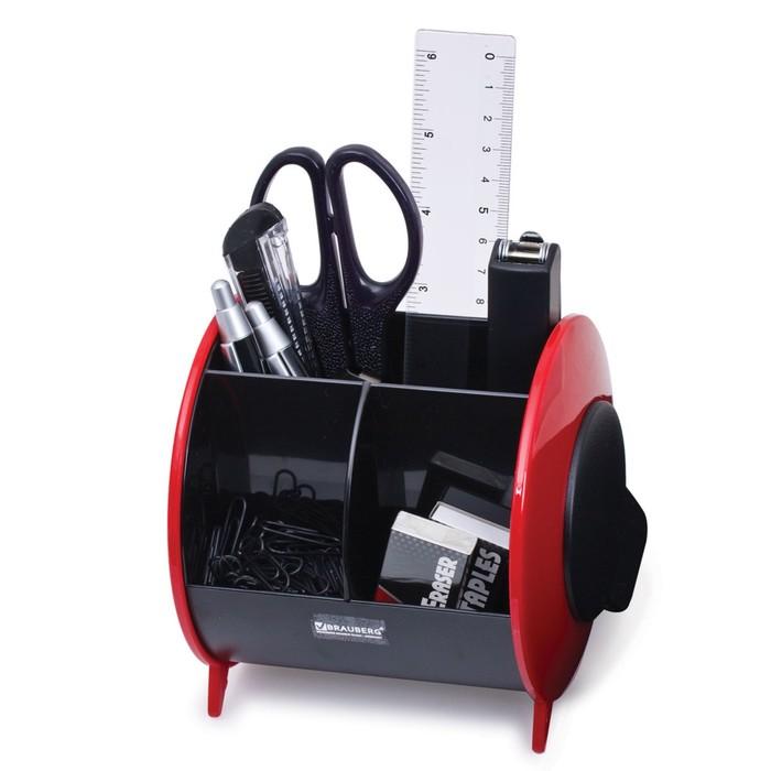 Набор канцелярский 9 предметов, вертикальная вращающаяся конструкция, черно/красный, блистер