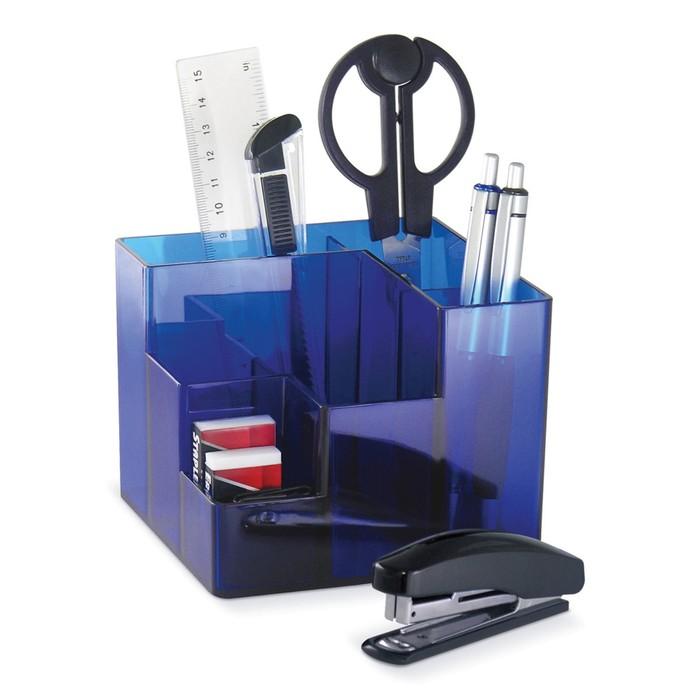 Набор канцелярский 9 предметов, вращающаяся конструкция, синяя, картонная коробка