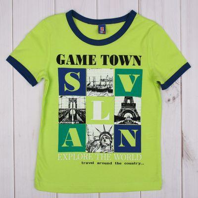 """Футболка для мальчика """"Игра в города"""", рост 92-98 см (26), цвет салатовый"""