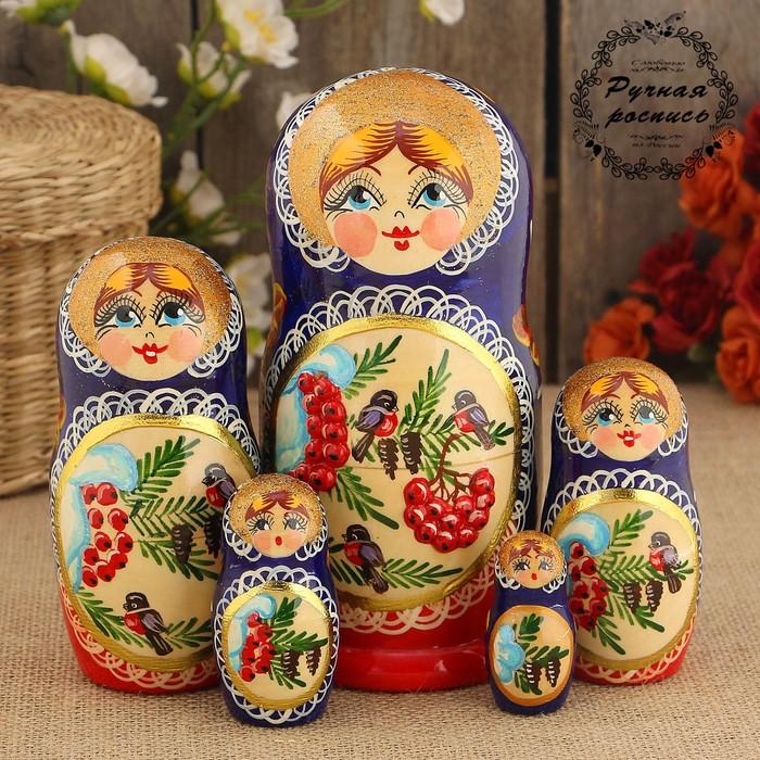 Матрёшка «Снегири», синий платок, 5 кукольная, 15 см, люкс