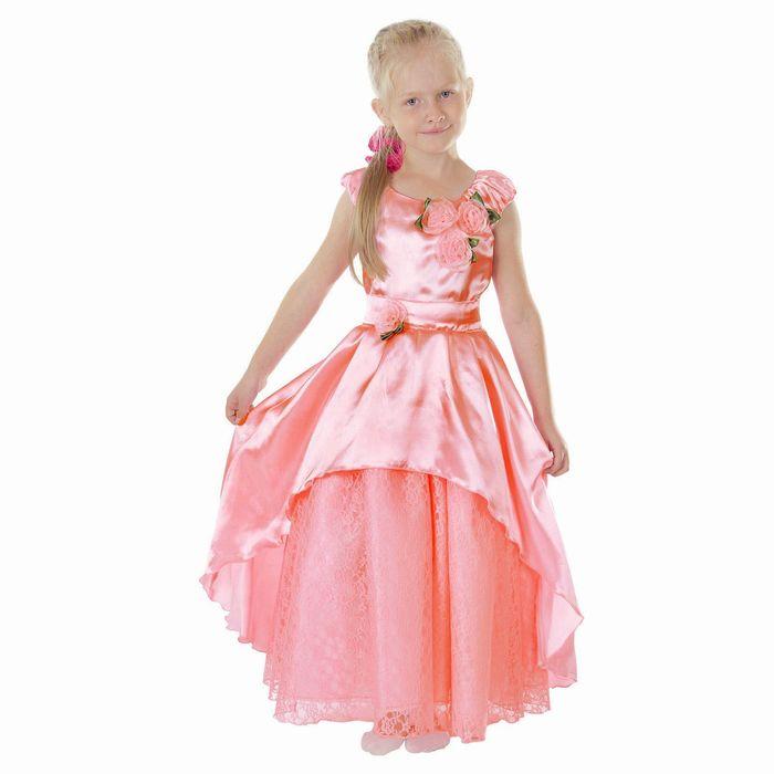 """Карнавальное платье """"Принцесса 002"""", р-р 64, рост 128 см, цвет коралловый"""