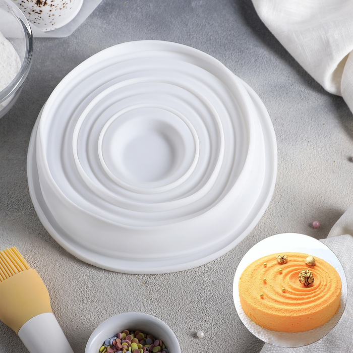 Форма для муссовых десертов и выпечки Доляна «Рябь», d=20 см, цвет белый - фото 308045598