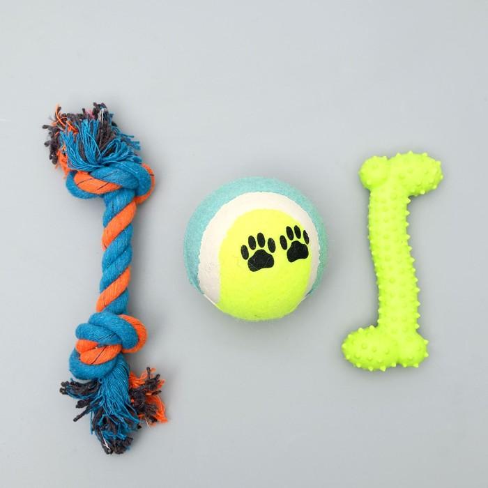 Набор игрушек для собак, 3 шт, микс цветов