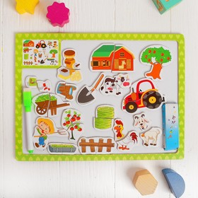 "Designer magnetic two-way ""Farm,"" 2 chalk and marker included"