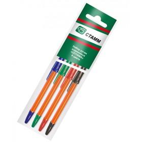Набор ручек шариковых микс 4 цвета «Стамм», «Оптима», ORANGE, узел 1.0 мм, чернила: синие, красные, зелёные, чёрные, европодвес