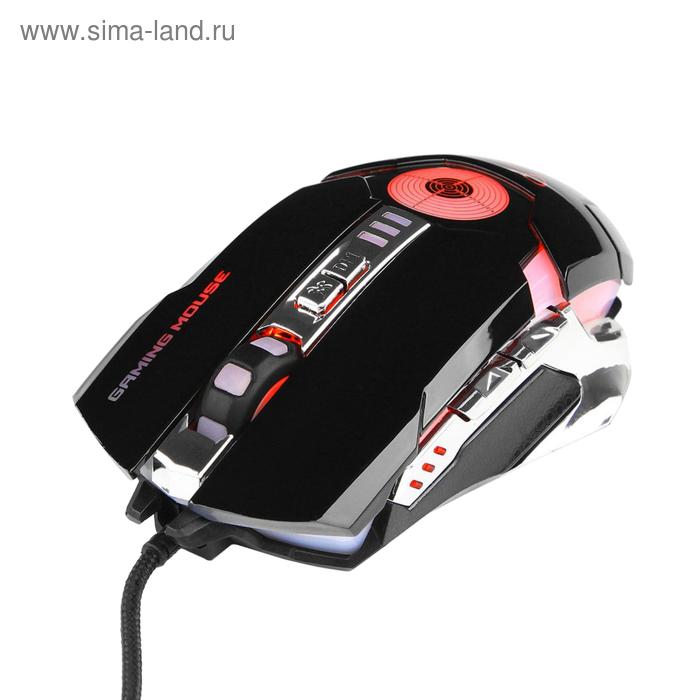 Мышь Gembird MG-530, игровая, проводная, оптическая,  3200dpi, подсветка, USB, черная