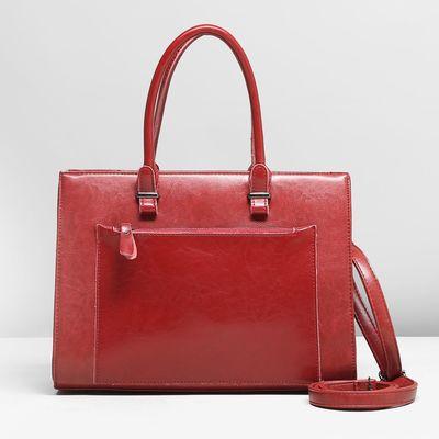 Сумка женская, отдел с перегородкой, 2 наружных кармана, цвет красный