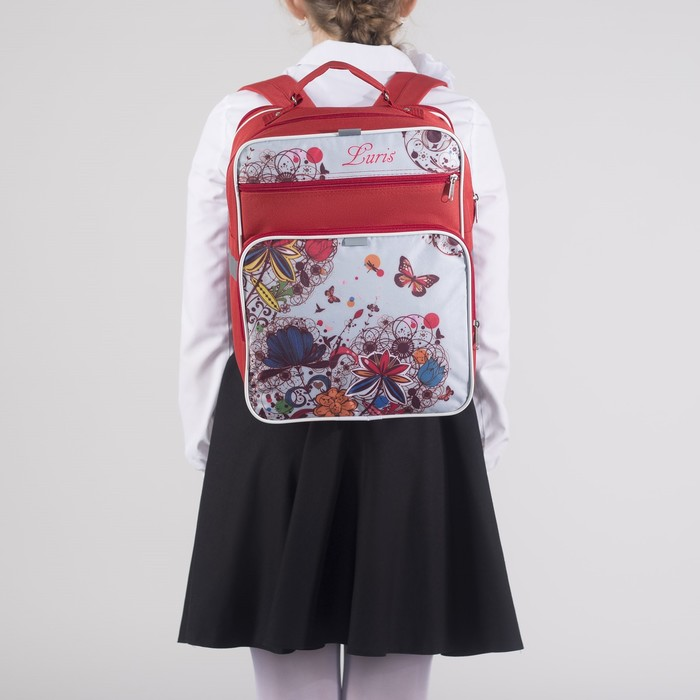 Рюкзак школьный, 2 отдела на молниях, 2 наружных кармана, цвет красный/белый - фото 443639335