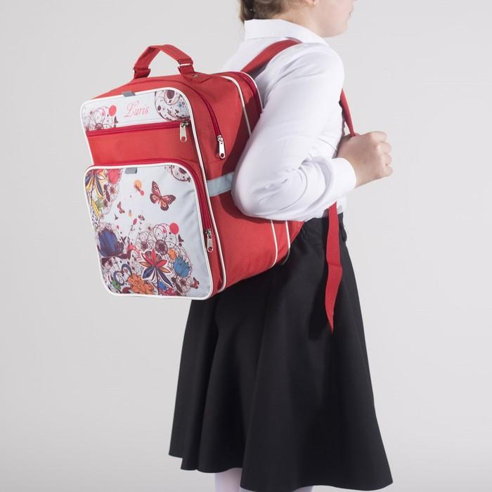 Рюкзак школьный, 2 отдела на молниях, 2 наружных кармана, цвет красный/белый - фото 443639337