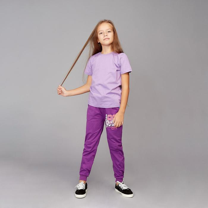 Футболка для девочки, цвет фиолетовый, рост 104-110 см - фото 105706399