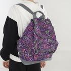Рюкзак молодёжный, 2 отдела на шнурке, 3 наружных кармана, цвет фиолетовый