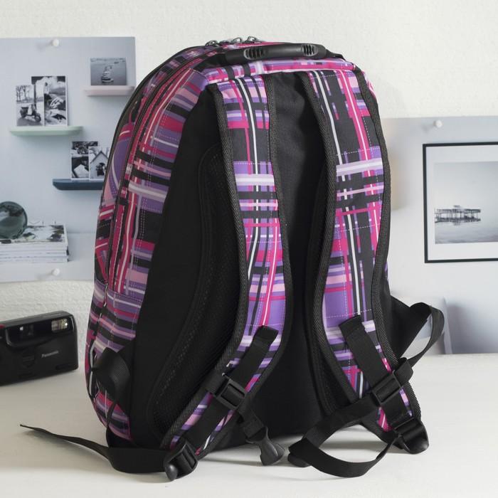 Рюкзак школьный, 2 отдела на молниях, наружный карман, цвет фиолетовый/разноцветный - фото 408727742