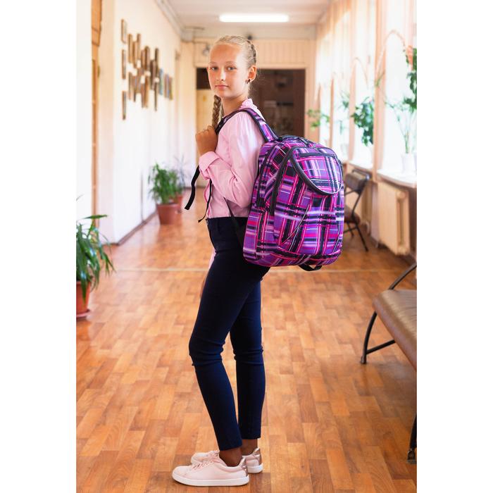 Рюкзак школьный, 2 отдела на молниях, наружный карман, цвет фиолетовый/разноцветный - фото 408727740