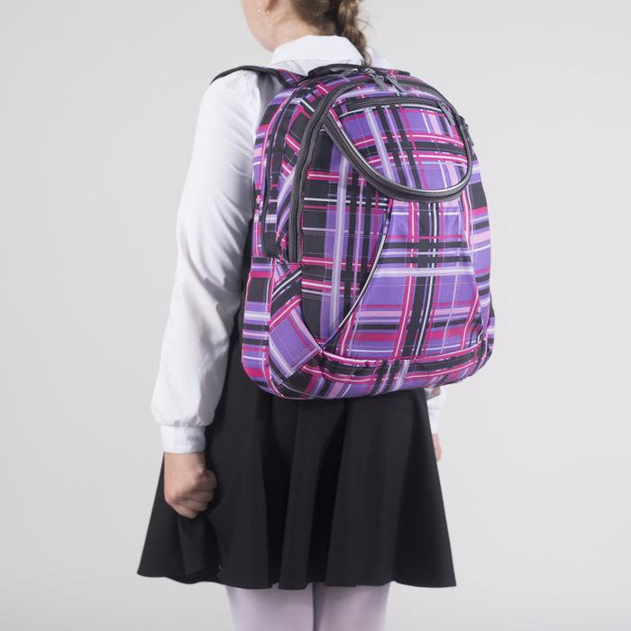Рюкзак школьный, 2 отдела на молниях, наружный карман, цвет фиолетовый/разноцветный - фото 408727745