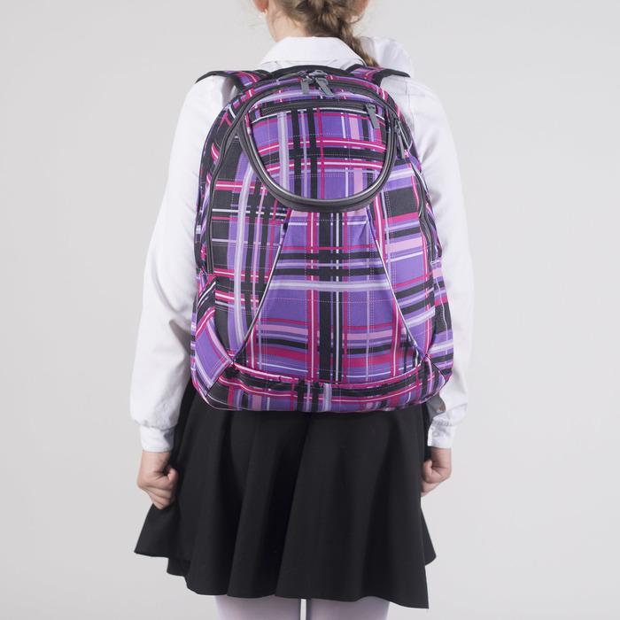 Рюкзак школьный, 2 отдела на молниях, наружный карман, цвет фиолетовый/разноцветный - фото 408727746