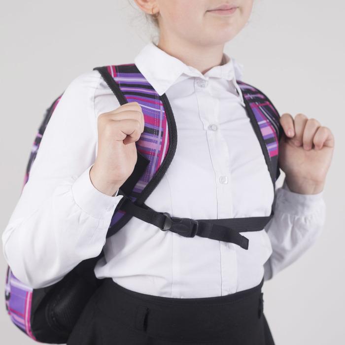 Рюкзак школьный, 2 отдела на молниях, наружный карман, цвет фиолетовый/разноцветный - фото 408727747