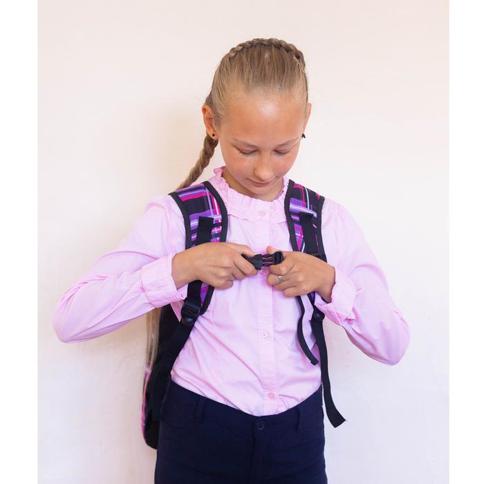 Рюкзак школьный, 2 отдела на молниях, наружный карман, цвет фиолетовый/разноцветный - фото 408727748